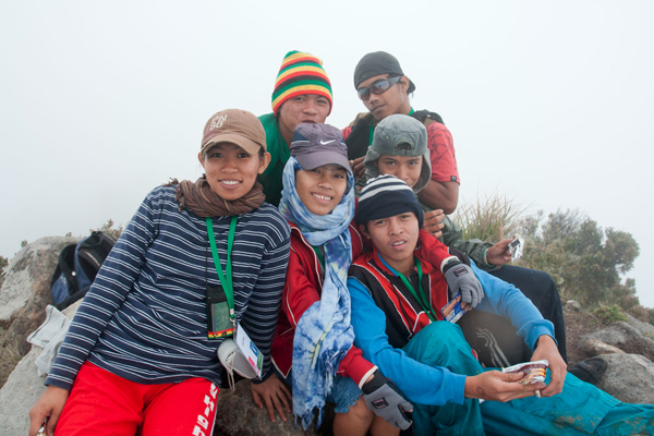 Students at the peak of Mt. Apo in the Kidapawan side pose for a souvenir shot in this file photo taken April 2009. MindaNews photo by Bobby Timonera