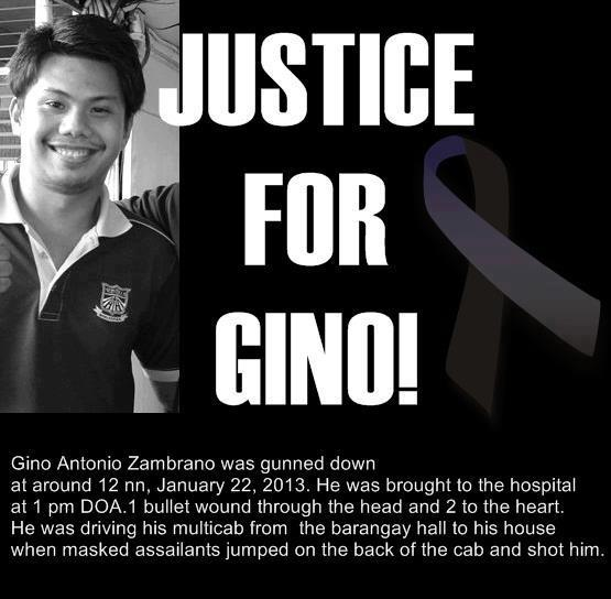 Facebook postings calling for justice for Gino.
