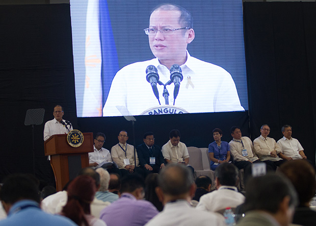 President Benigno Aquino III speaks before the participants to the 22nd Mindanao Business Conference at SMX Lanang Premiere, Davao City on August 8, 2013. The 3-day conference will provide a venue for key business leaders to craft a policy agenda that will prepare the Philippines for the Asean Economic Community (AEC) 2015 integration. MindaNews photo by Toto Lozano