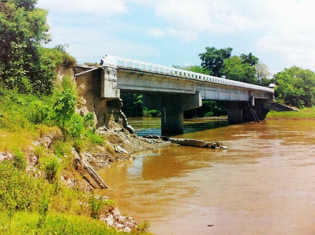 The slope protection of the Tunggol Bridge's approach from Datu Montawal in Maguindanao. Maguindanao Governor Esmael Mangudadatu has expressed fears the bridge would collapse. Photo corutesy of DPWH-ARMM