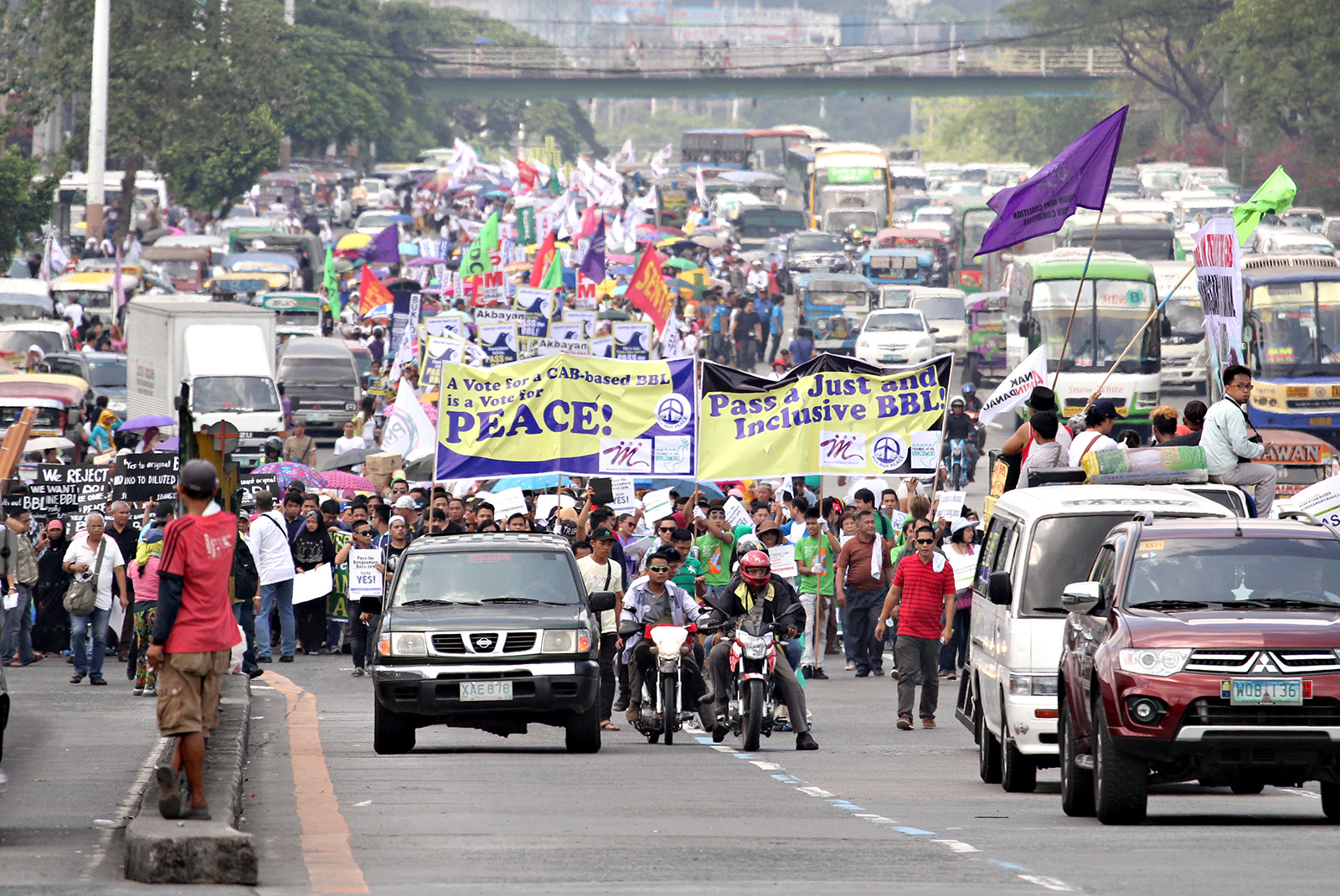Thousands joined in the march towards the House of Representative from the Saint Peter Parish Church to call for the passing of the Bangsamoro Basic Law (BBL), Batasan Hills, Quezon City, May 11, 2015. MindaNews photo by Erwin Mascariñas