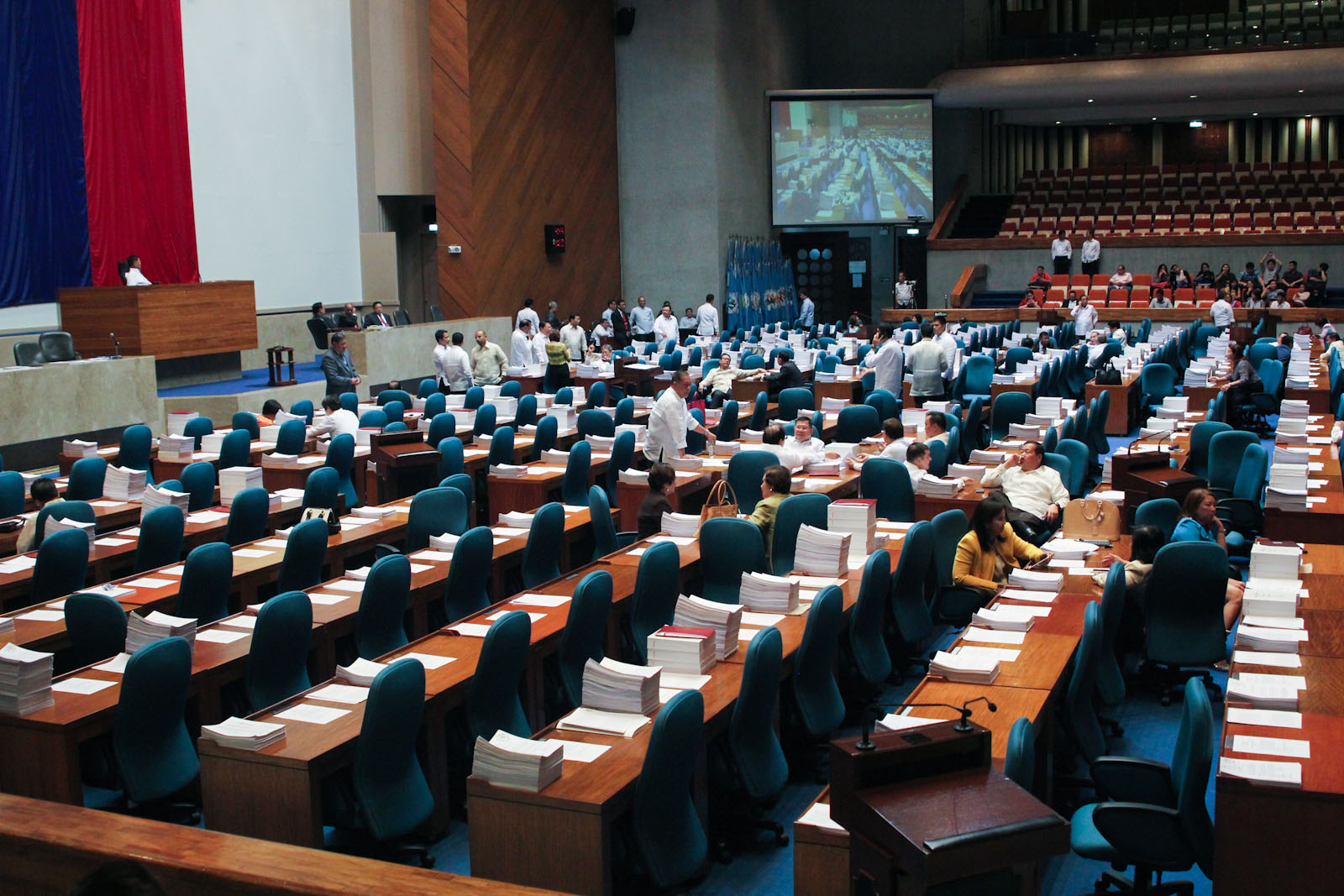 Most of the seats of the House members are empty as interpellation for House Bill 5811 continued on June 4, 2015. Session was adjourned before 6 p.m. on August 4, supposedly the resumption of the period of interpellation on HB 5811, due to lack of quorum. MindaNews file photo by Toto Lozano