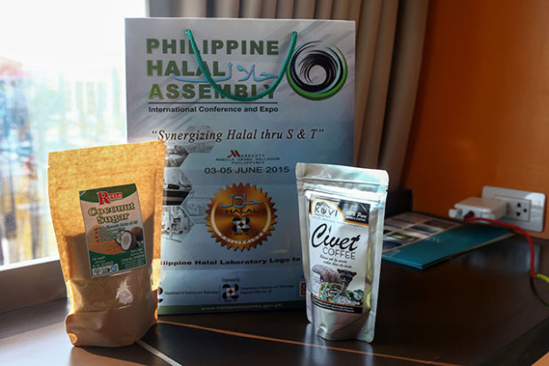 Halal products from Mindanao being displayed during the Philippine Halal Assembly held at the Marriott Hotel in Pasay City from June 3-5, 2015. Various halal stakeholders from all over the world joined the event. MindaNews photo by Ferdinandh Cabrera