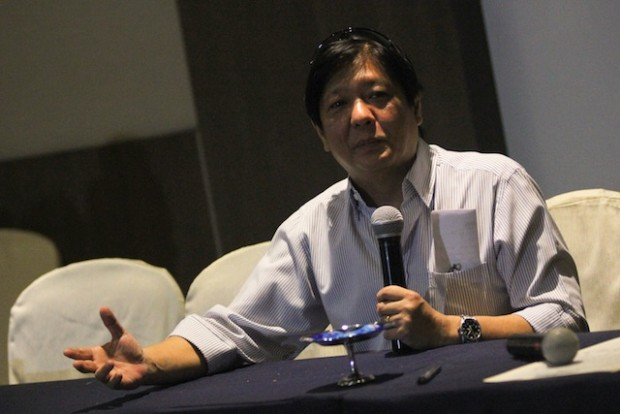 "Senator Ferdinand Marcos, Jr. says his committee will continue working on the substitute bill to the draft Bangsamoro Basic Law but says ""BBL is dead"" if the Supreme Court voids hte peace agreements.  MindaNews file  photo by Toto Lozano"