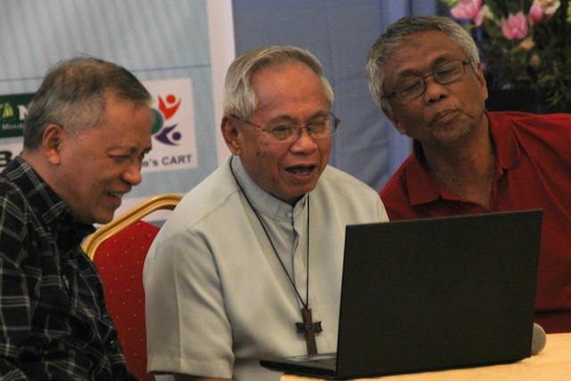 Gus Miclat of the Initiatives for International Dialogue, Cardinal Orlando B. Quevedo, and Guiamel Alim of the Consortium of Bangsamoro Civil Society. MindaNews photo by TOTO LOZANO