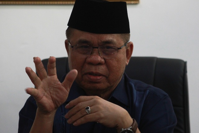 Before he became MILF chair in July 2003, Al Haj Murad Ebrahim served as Vice Chair for Military Affairs. He also served as MILF peace panel chair from 2001to 2003. MindaNews photo by TOTO LOZANO