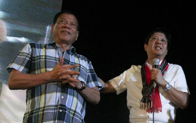 Vice Presidential bet Ferdinand Marcos, Jr. and then Presidential bet Rodrigo Duterte shared the same stage in Alabel, Sarangani on November 27, 2015, as guests in the provinces' foundation day. Marcos spoke first before Duterte. MindaNews photo by TOTO LOZANO