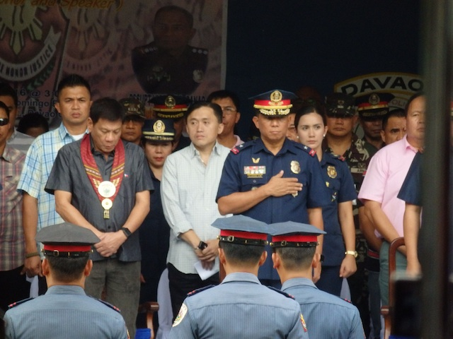 President-elect Rodrigo Duterte arrives at the Davao City Police Office parade grounds for the turnover of command of the city police. Freed kidnap victim Marites Flor will be presented to him shortly, by returning Presidential Adviser on the Peace Process Jesus Dureza. Dureza fetched Flor in Jolo, Sulu Friday noon. MindaNews photo by Carolyn O. Arguillas