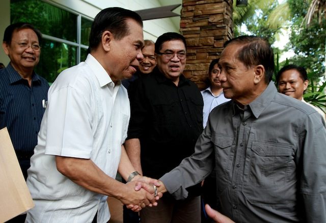 Presidential Adviser on the Peace Process Jesus Dureza (right) and Moro Islamic Liberation Front (MILF) chair Al Haj Murad Ibrahim during Dureza's visit in the MILF's Camp Darapanan on July 21 to discuss the implementation phase of the Comprehensive Agreement on the Bangsamoro. MindaNews photo by KEITH BACONGCO