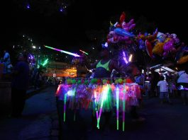 A vendor sells illuminating toys in front of the Davao City Hall during the opening of Pasko Fiesta on Friday night, December 2. Mindanews Photo