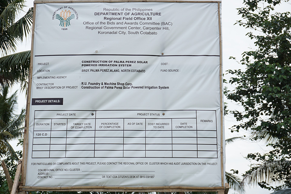 Except for the official duration, a tarp on the SPIS project in Brgy. Palma Perez in M'lang, North Cotabato does not mention the other details. Photo taken April 3, 2019. Mindanews Photo by H. Marcos C. Mordeno